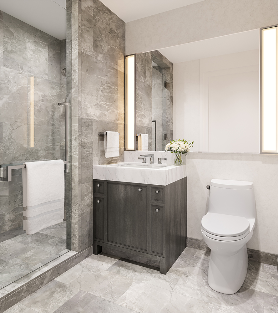 One Waterline Squares Guest Bathrooms Decorated with Modern Fixtures & Gray Marble