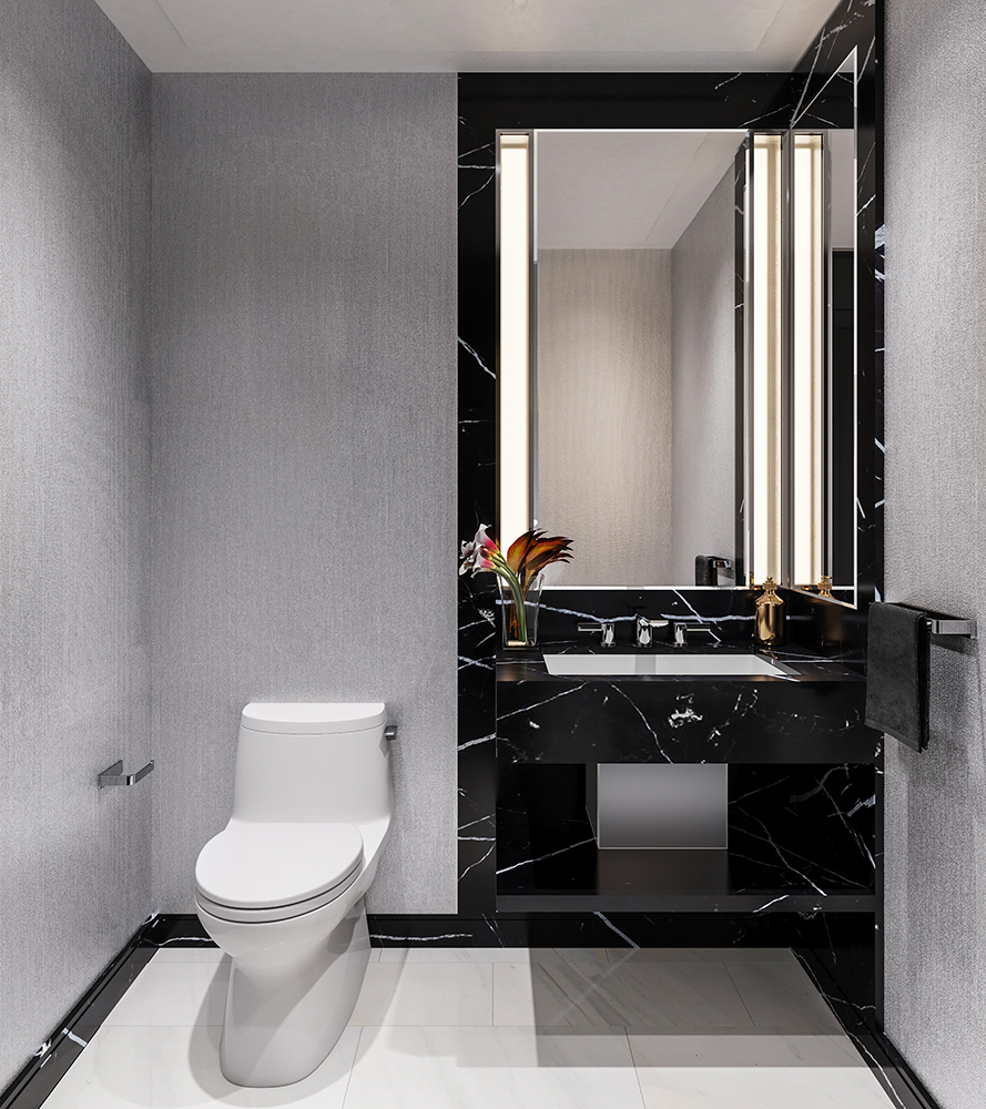 One Waterline Squares Powder Room Decorated with White and Black Natural Stone