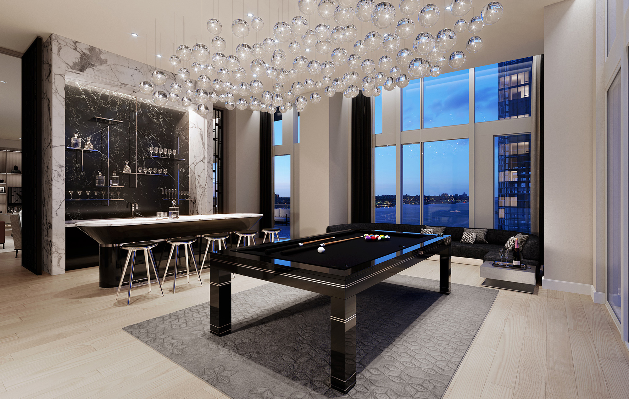 Condos at One Waterline Square with Billiard Lounge