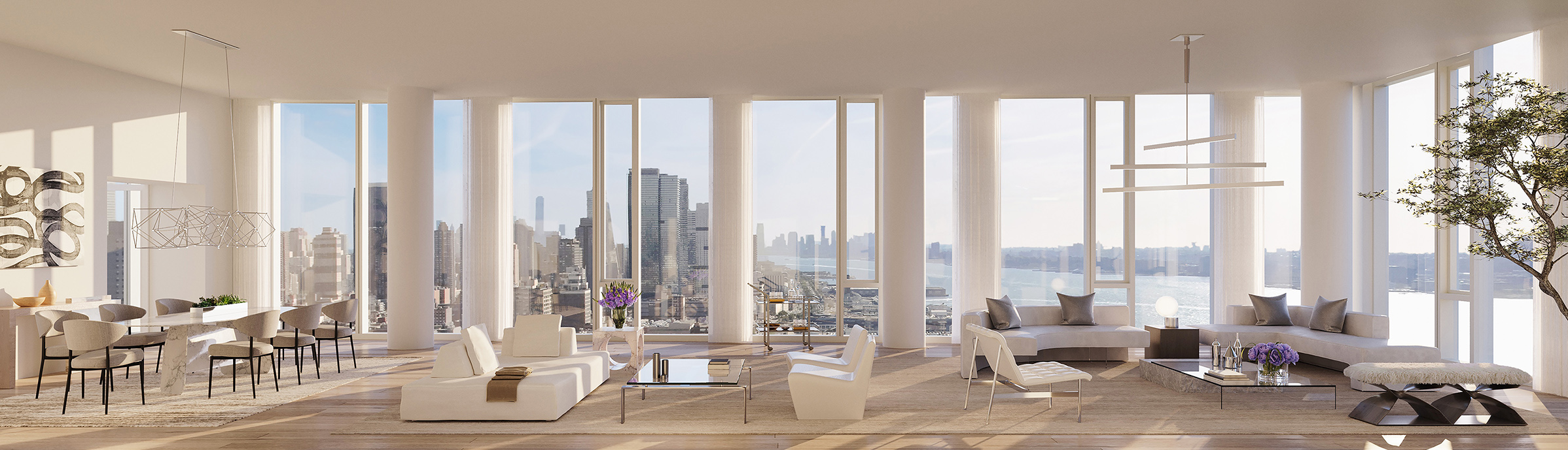 Hudson River Views from One Waterline Square Penthouse