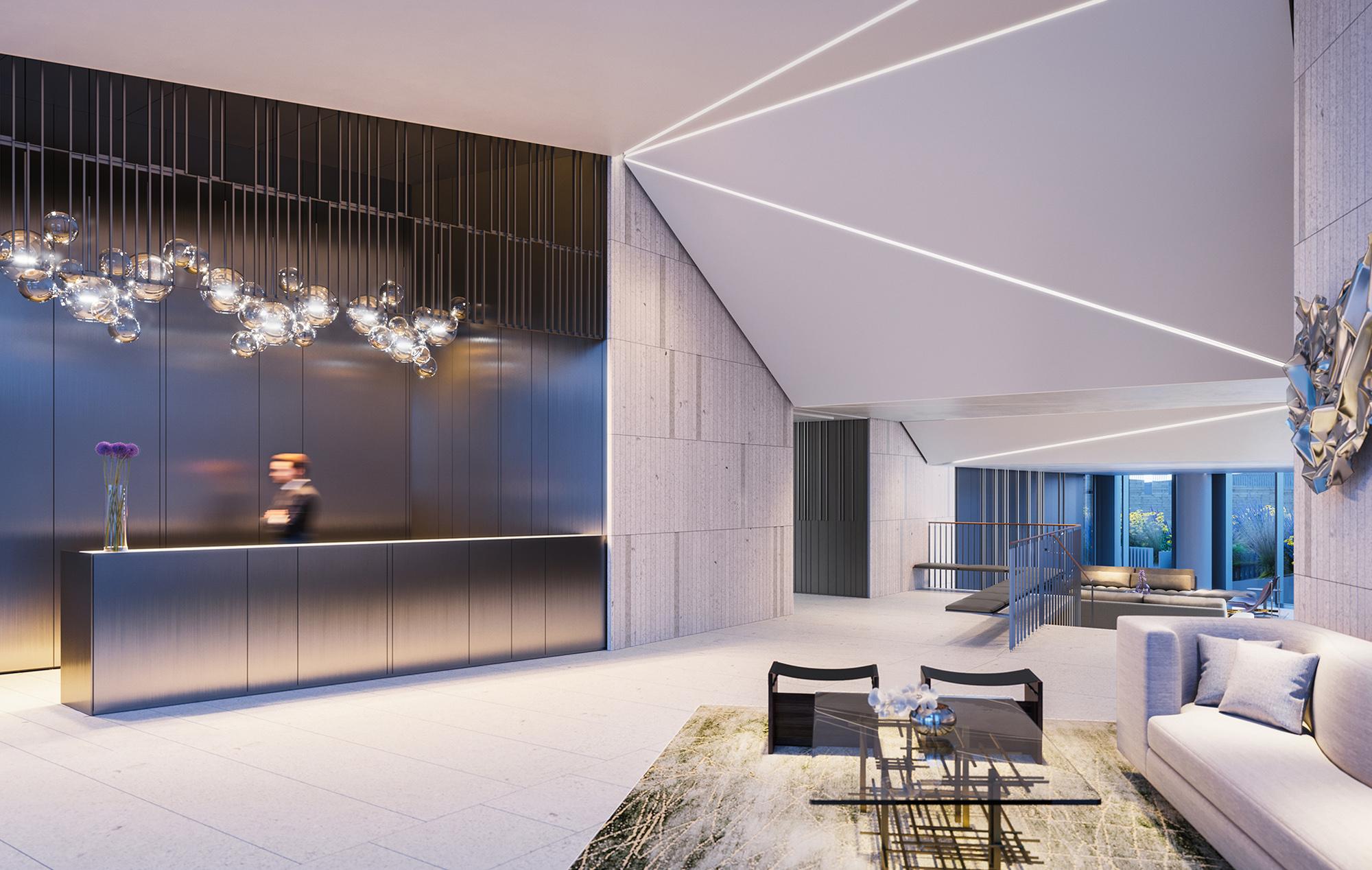 Luxury Condo Lobby Designed as a Geometric Masterpiece