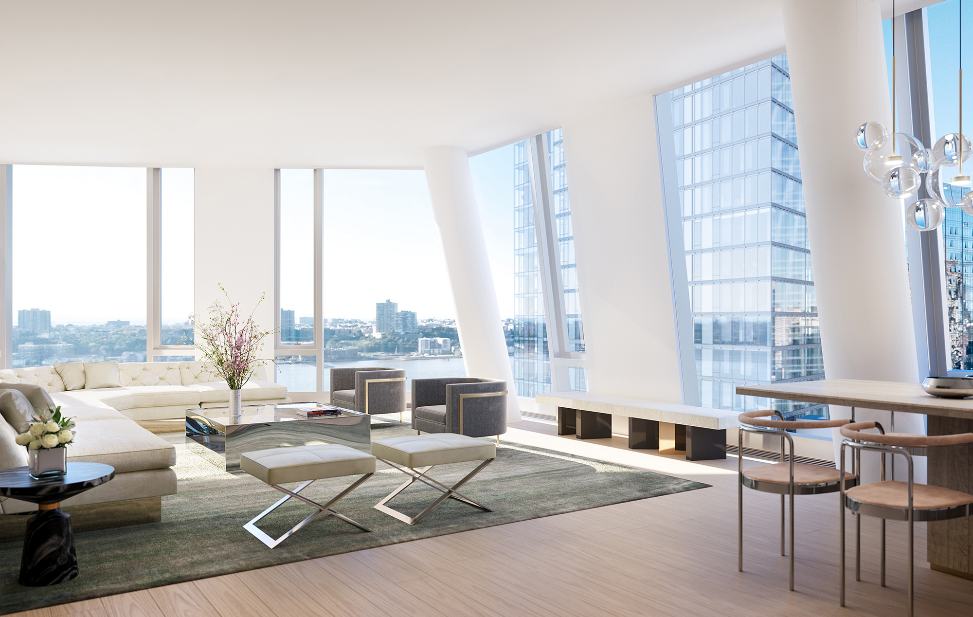 Condo Living Room with Views of New York and High Ceilings