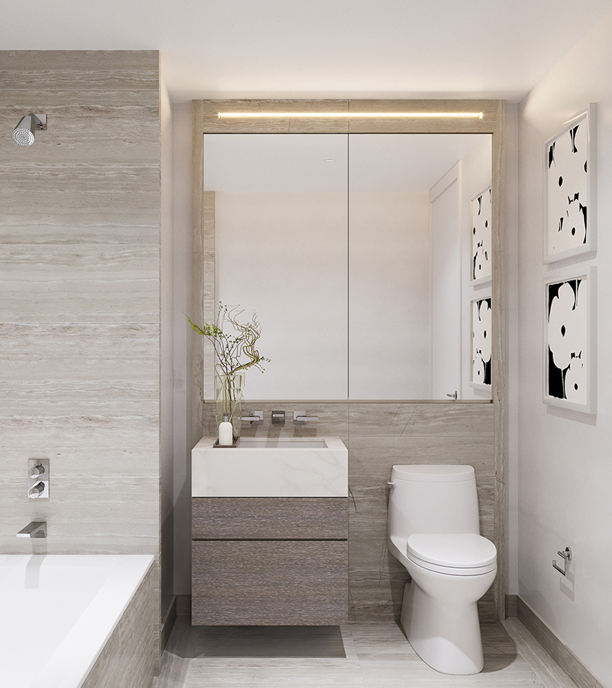 Front View of Three Waterline Square Condo Guest Bathroom