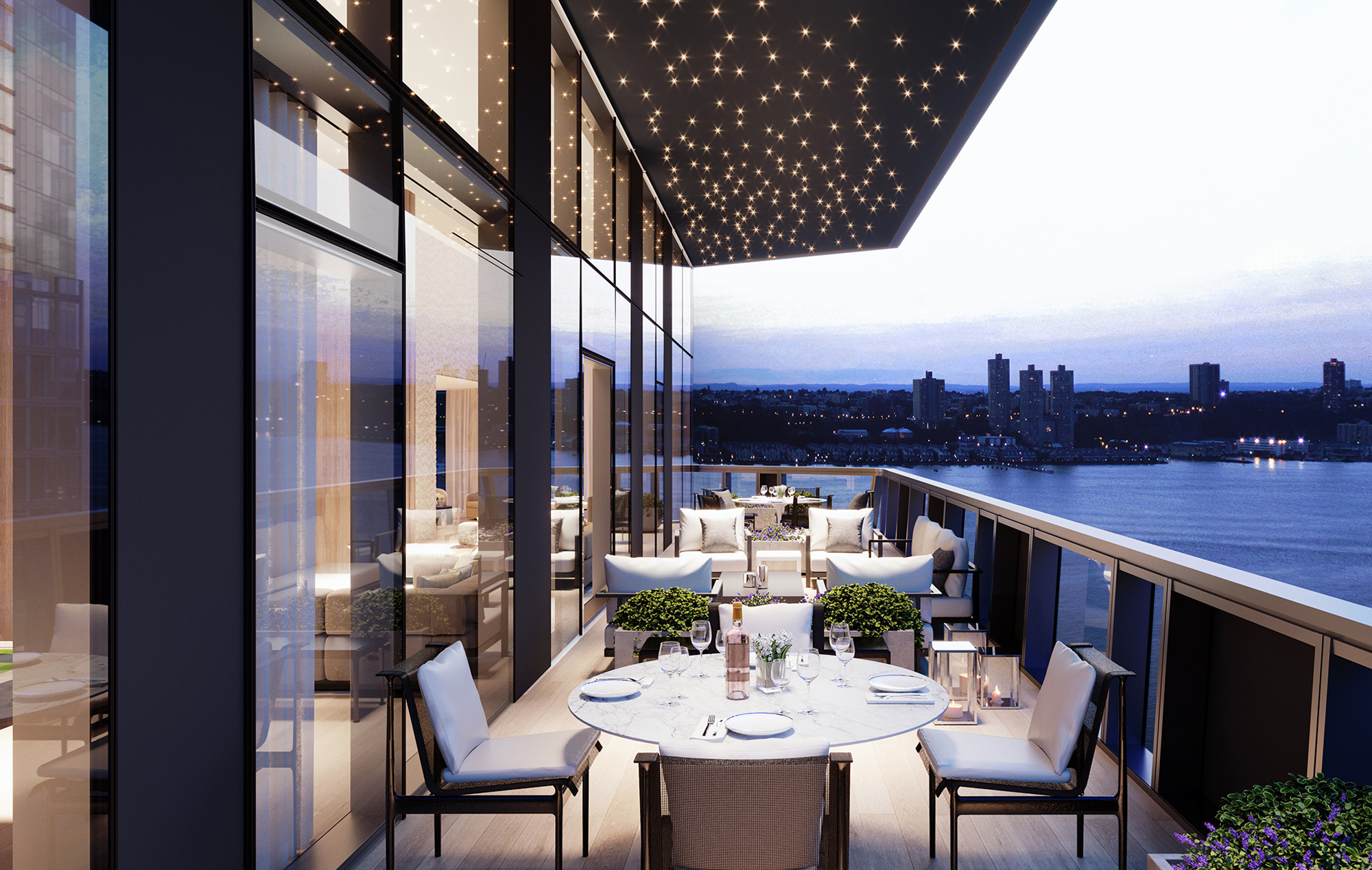 Views of the New York Skyline from Three Waterline Square's Terrace