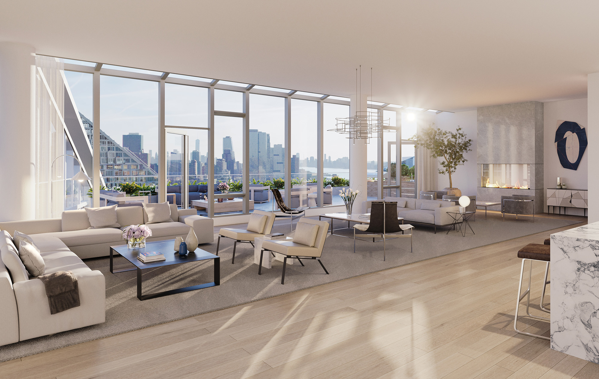 New York Skyline Views from Luxury Condo Penthouse Living Room
