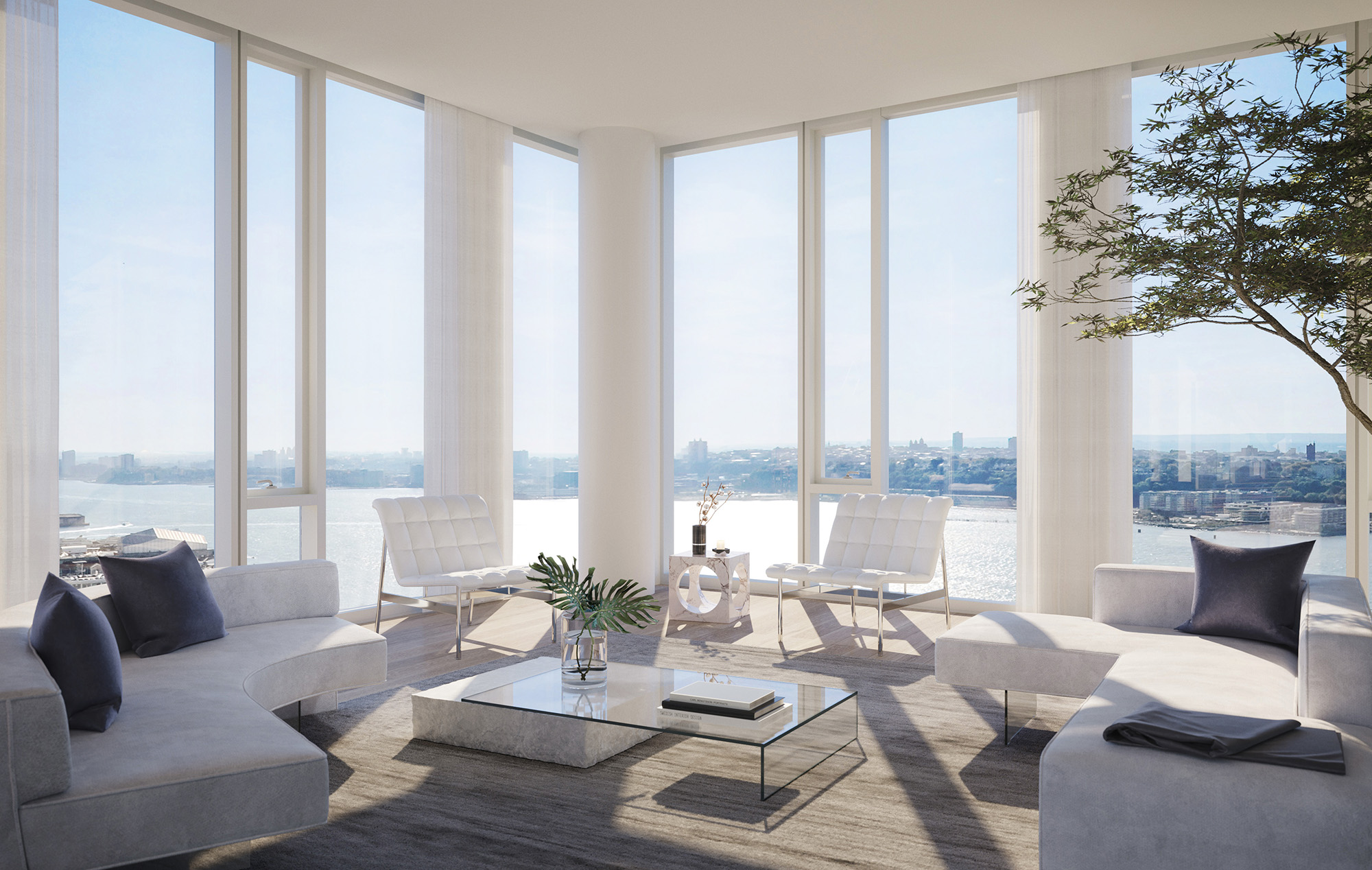 NYC Skyline from One Waterline Square Penthouse Living Room