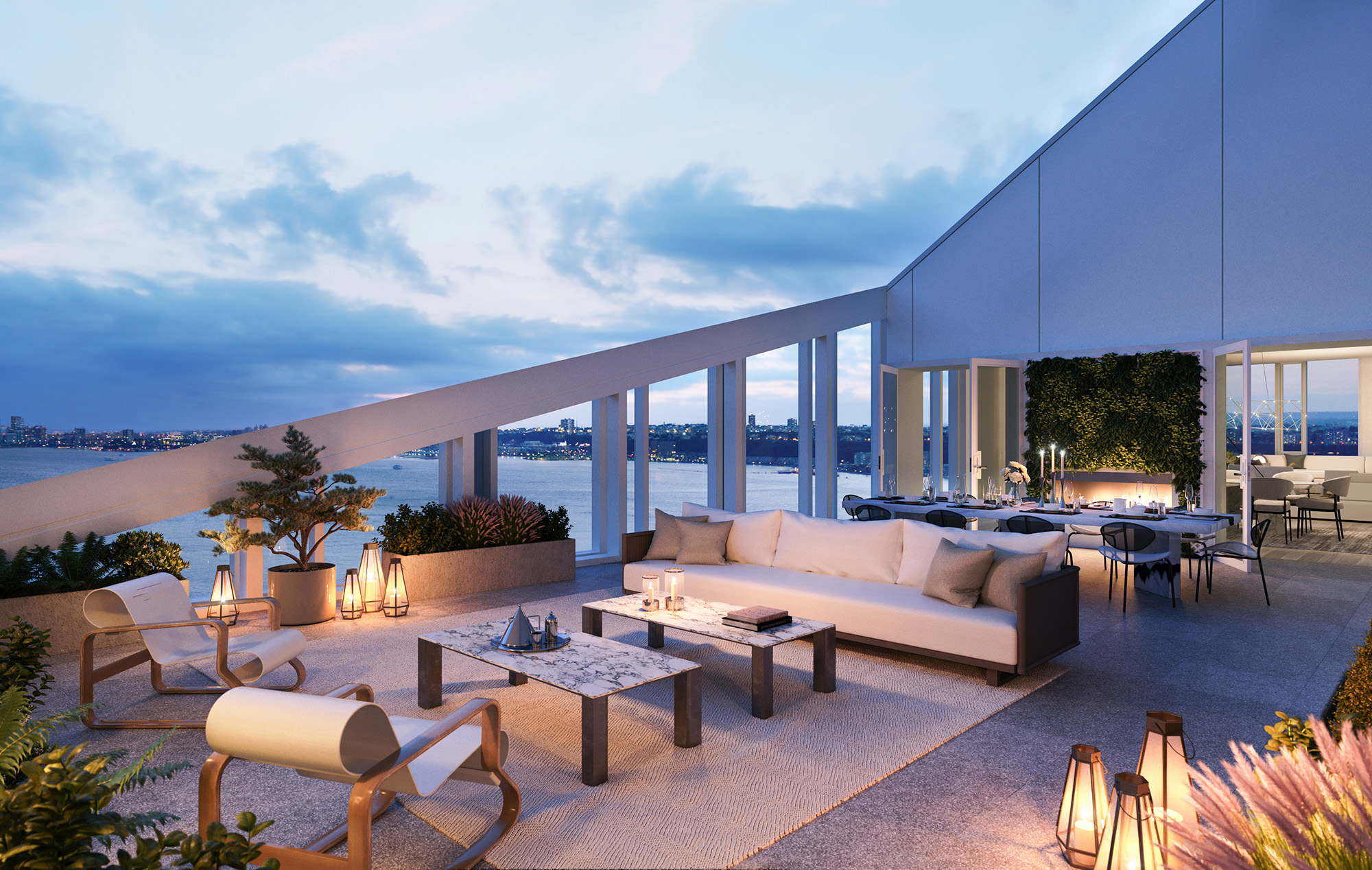One Waterline Square Penthouse Terrace with Views of New York City Skyline