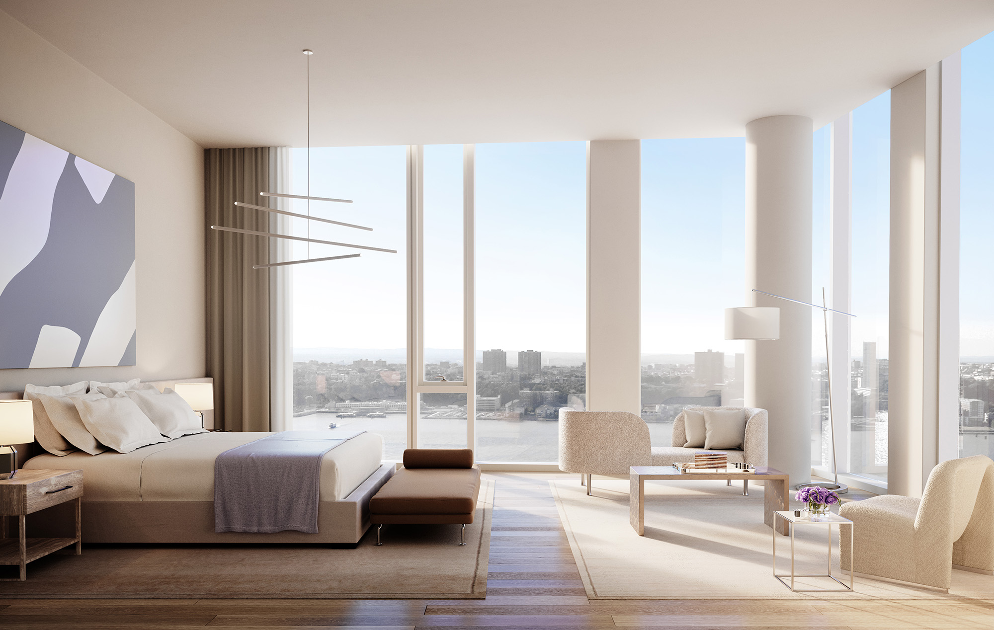 Side View of Master Bedroom in One Waterline Square Penthouse