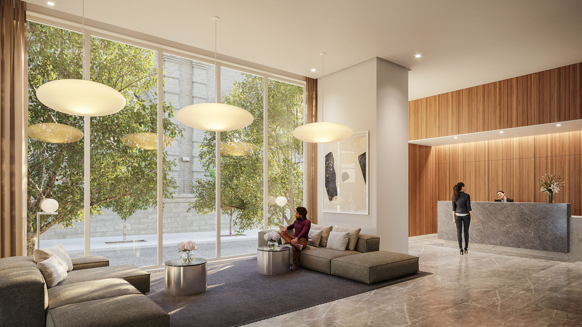 new york apartments with luxury lobby and doorman
