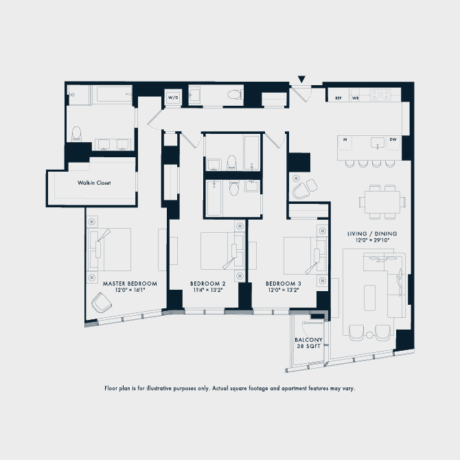 1707 Two Waterline Square Floor Plan