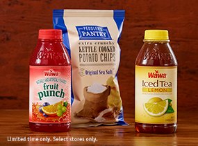Juice, iced tea, chips. Limited time only. Select stores only.