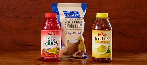 Wawa beverages and Peddler's Pantry chips