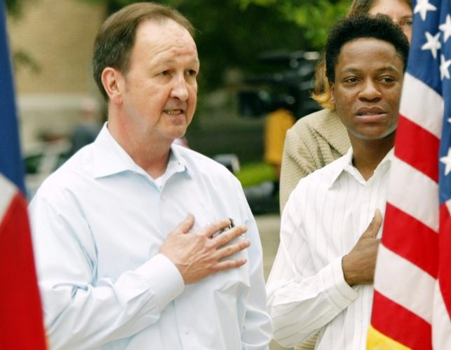 John Lawrence and Tyron Garner after the Supreme Court's 2003 decision in Lawrence v. Texas. Photograph by Erich Schlegel, Dallas Morning News.