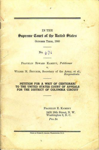 Petition for a writ of certiorari from the Supreme Court case Franklin Edward Kameny v. Wilber M. Bruckner, 1960