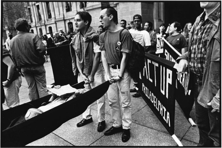 Members of ACT UP Philadelphia demonstrate at City Hall, 1992. Photograph by Harvey Finkel. John J. Wilcox, Jr. Archives