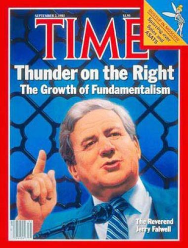 Jerry Falwell appears on the cover of Time magazine's September 2, 1985 issue