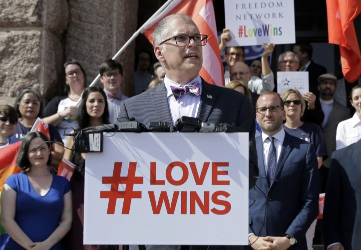 Jim Obergefell on the steps of the Texas Capitol during a rally in Austin, Texas. Photograph by Eric Gay/AP