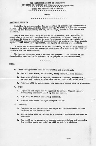 Picketing regulations proposed and adopted by the Mattachine Society of Washington, DC. John J. Wilcox, Jr. Archives