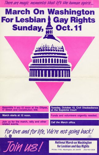 Poster for the March on Washington for Lesbian and Gay Rights, 1987. John J. Wilcox, Jr. Archives