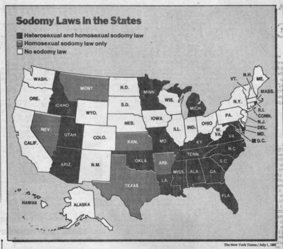 Map showing the existence of sodomy laws in the United States at the time of Bowers v. Hardwick. New York Times, July 1, 1986.