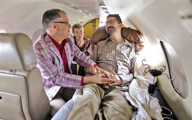 Jim Obergefell marries John Arthur aboard a private medical jet on July 11, 2013. Photograph by Glenn Hartong/AP