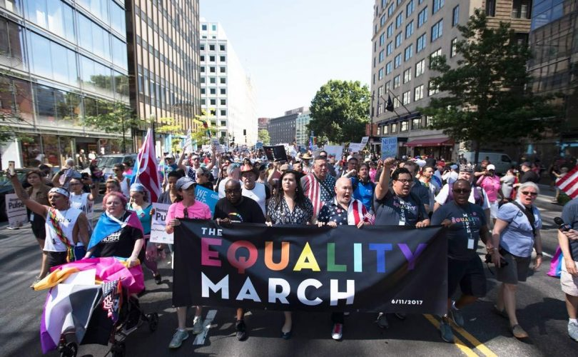 The Equality March for Unity and Pride in Washington, DC, Sunday, June 11, 2017. Photograph by Carolyn Kaster/AP