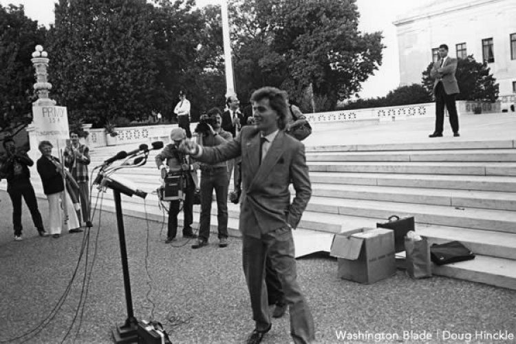 Michael Hardwick in front of the Supreme Court in 1986. The Washington Blade, 1986.