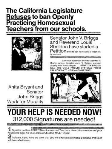 Flyer urging voters to support the Briggs initiative's proposed ban on gay teachers. John J. Wilcox, Jr. Archives