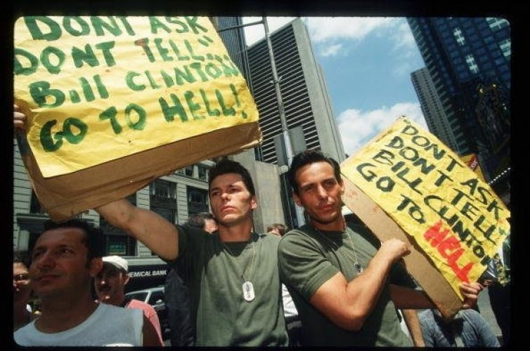 At a 1993 demonstration in New York, gay rights activists protest against the