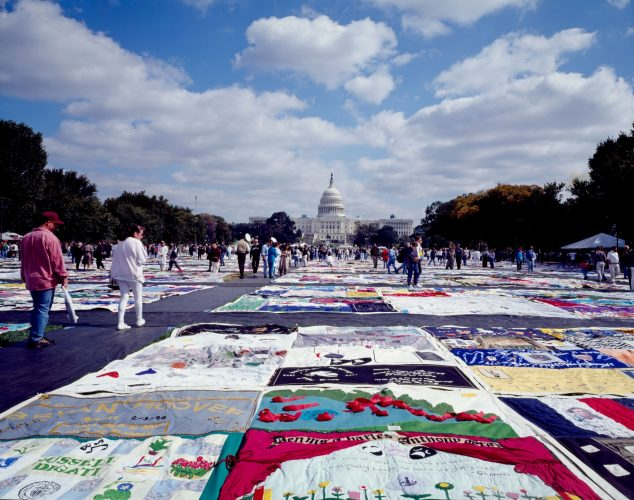 The AIDS Memorial Quilt on display for the first time on the National Mall during the March on Washington, 1987