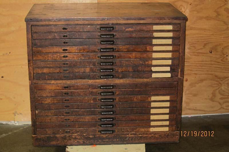 Lot #53: Hamilton 16 Drawer Letterpress Cabinet - WireBids