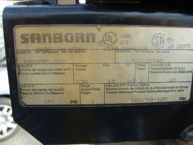 Lot 5 Sanborn Air Compressor Model B500bpl60v Wirebids