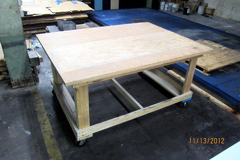 ... Large Wooden Rolling Work Table ...