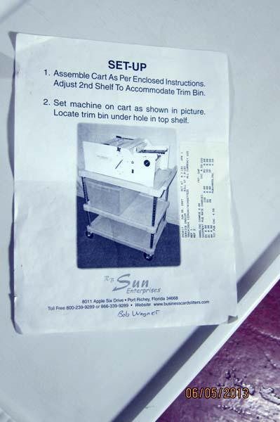Lot 21 Sun Model HS 1600GC Business Card Slitter WireBids