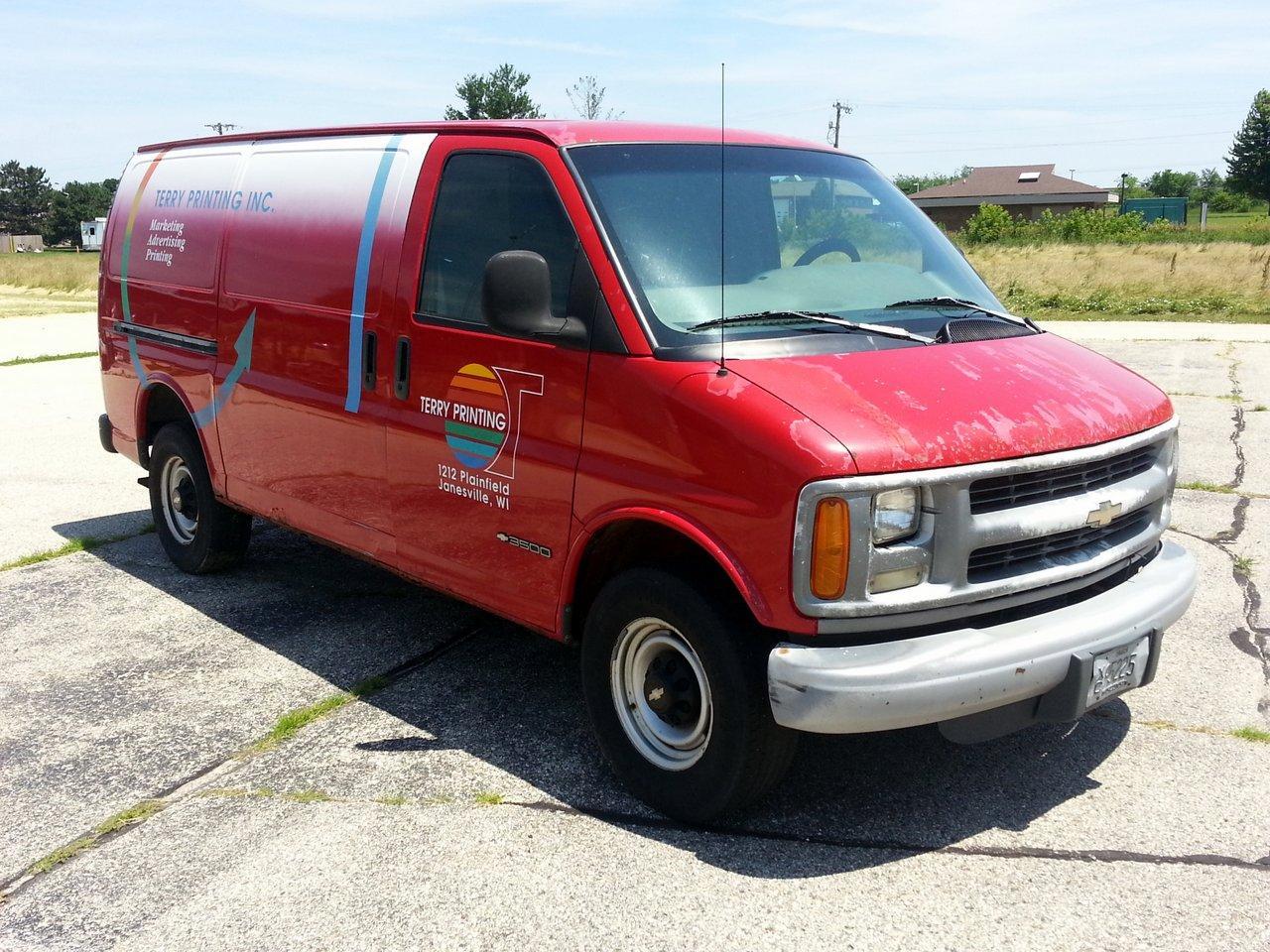 Lot  5  1998 Chevrolet 3500 Diesel Cargo Van