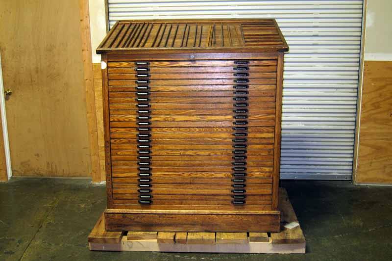 Lot #2: 25 Drawer Hamilton Wood Type Cabinet - WireBids