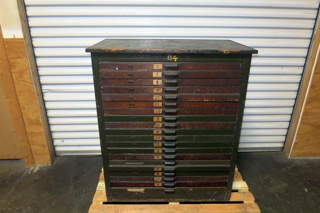 Lot #98: 20 Drawer Hamilton Type Cabinet - 100 Years Old - WireBids