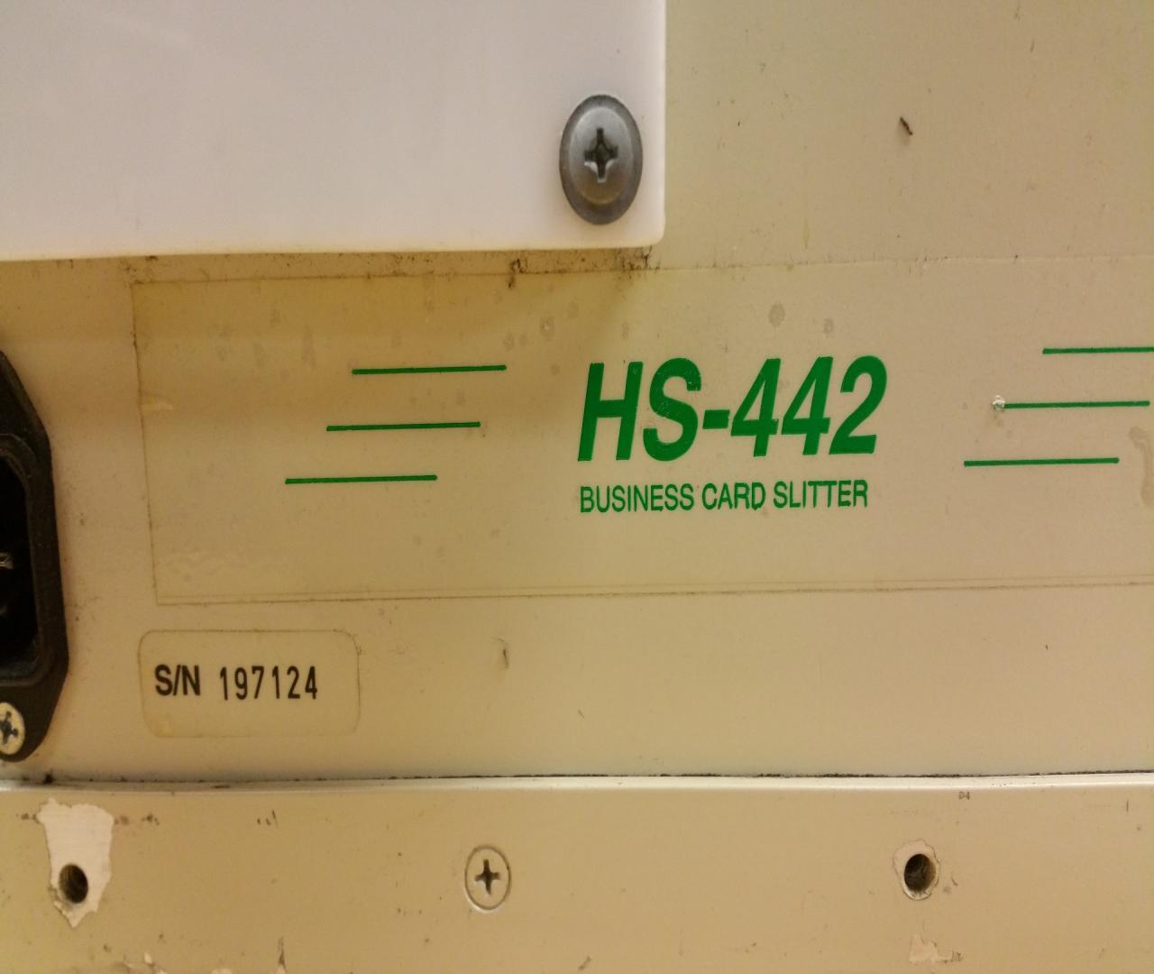 Lot 95 Sun HS 442 Business Card Slitter WireBids
