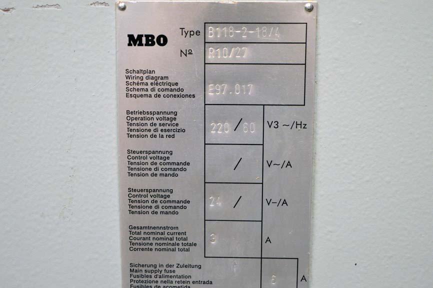 lot mbo b x paper folder w page return 2001 mbo b18 20 x 26 paper folder w 8 page