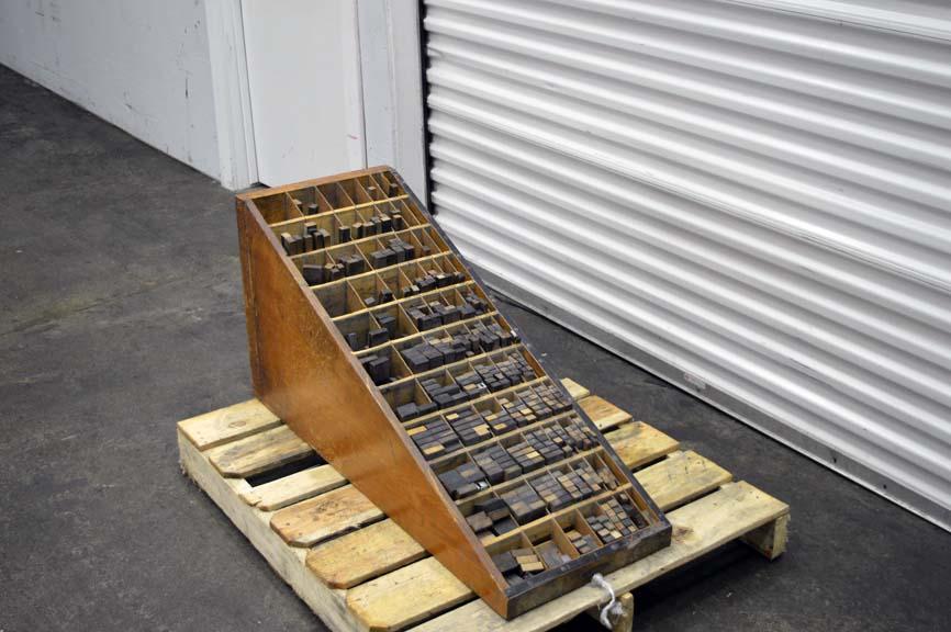 Lot #109: Letterpress Furniture Cabinet with Wood Furniture - WireBids