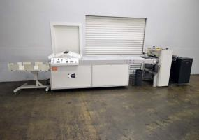 "a photo of Tec Lighting 24"" UV Coater w/ Tec Lighting Pile Feeder and Chute Delivery"