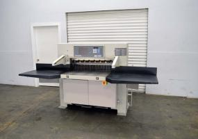 "a photo of  2006 Challenge 370 XT Programmable Paper Cutter w/ Air Bed, Safety Lights, & 10"" Touch Screen - Click here to see VIDEO!"