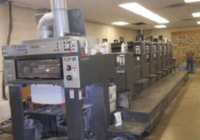 a photo of 1997 Heidelberg SM74 6 color with Auqueous Coater 108 mil. Imps. ( Ships from PA)
