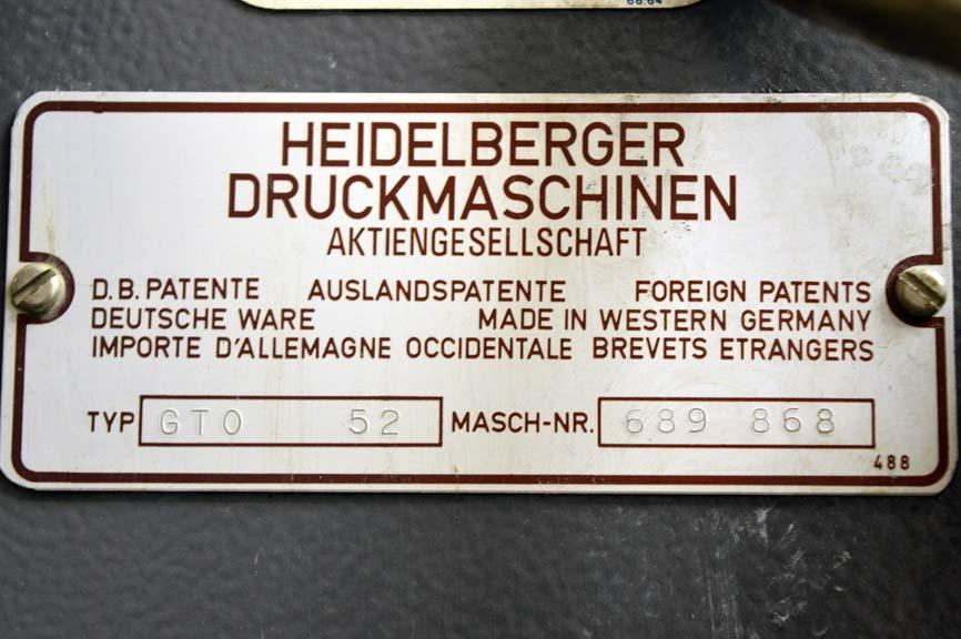 Lot #24: 1997 Heidelberg GTO 52 Single Color Printing Press - WireBids