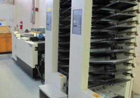a photo of Duplo Dynamic Bookletmaker DBM-250 with 2 Duplod DC 10,000S 10-Station Collating Towers with Duplo Trimmer #250T and Duplo Stacker Model #DC-48ST - West Haven, CT