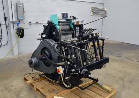 a photo of 1977 HEIDELBERG WINDMILL 10″ X 15″ LETTERPRESS – REDBALL, LOCKOUT ROLLERS, GERON TEMPRESS MC-1 HOT FOIL UNIT