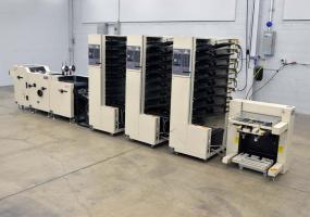 a photo of DUPLO DC-8000S 24-BIN COMPLETE AIR FEED BOOKLET MAKING SYSTEM (STITCH / FOLD / TRIM)