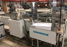 a photo of Gremser Production Inserting Line with 4 Gremser Flat Pile Sheet Feeders, Model FN35VS/DT with Drop Table Option, Lugged Conveyor, Inserting Station, Nordson Hot Melt Gluing Unit Model Durablue 4 & Batch Type Conveyor Out Feed - Brooklyn Park, MN