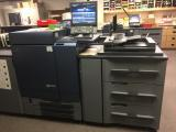 2014 Konica Minolta Bizhub Press C8000 with Large Capacity Vacuum Feed, 3 Small Friction Feed Drawers, Full Color High Speed Scanner, Humidification Unit, Decurler, Double Fuser, 200 Page Bookletmaker