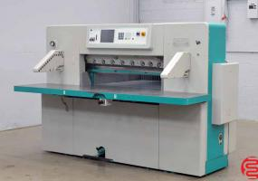 2000 Perfecta 115 UC Hydraulic Programmable Paper Cutter with Safety Lights and Air Table - Click for Video!
